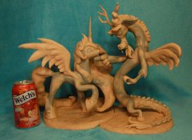 MLP - Celestia and Discord Sculpture - WIP by Miki-