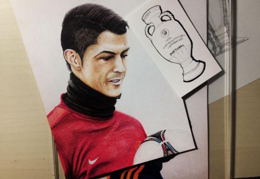 Cristiano Ronaldo and the Henri Delaunay Trophy by Gutter1333