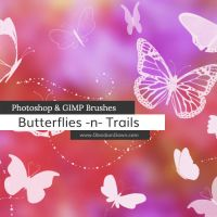 Butterflies n Trails Photoshop and GIMP Brushes by redheadstock