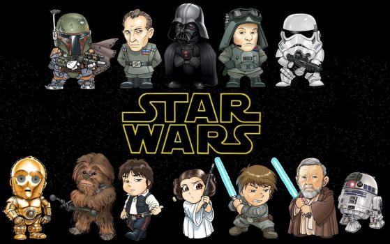 Star Wars Chibi Line-Up by masterbarkeep
