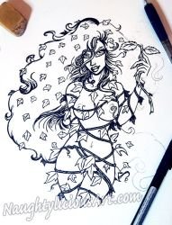 Poison Ivy : Ink Drawing by NaughtyliciousArt