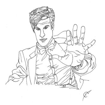 Dr. Who Line Art by son-of-mayhem