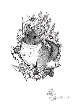 Chinchilla in flowers.graphic illustration by CandyMermaid