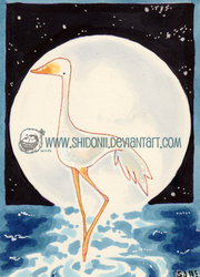 Crane by the Moon ACEO ATC by shidonii