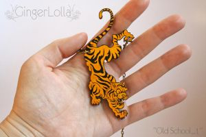 Unique wooden tiger shaped pendant (Old School) by arnea