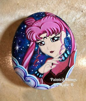 Painted Rock - Black Lady by starfiregal92