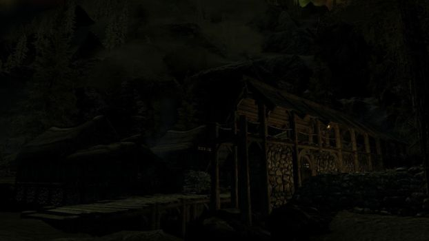 Night time in Riverwood by theAmnesiaofDarkness