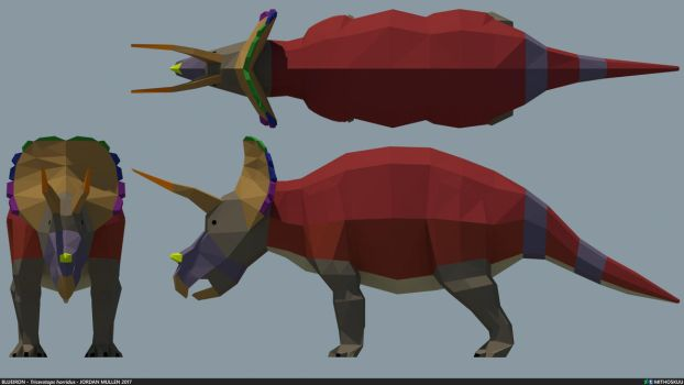 Triceratops horridus low poly by MithosKuu