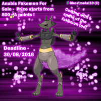 Anubis Fakemon Sale ! (Auction) by Ghostmetal10