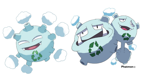 Alolan Koffing and Weezing by Phatmon