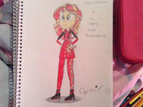 Sunset Shimmer as the Cherry Violet Beauregarde by April-13