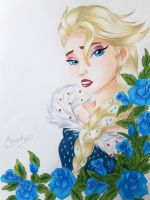 Frozen - Elsa and Roses by Elveariel