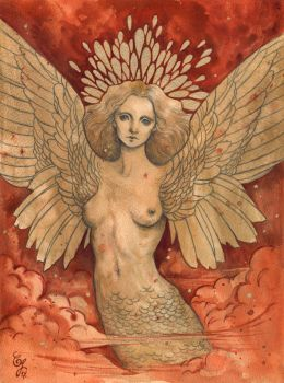 Gold angel on red sky by aeryael