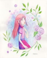 Young Girl Among Roses by Moonie-Dreamer