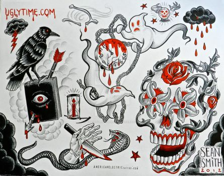 red and black tattoo flash sheet 5 by creaturetown