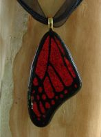 Red Butterfly Wing Fused Glass by FusedElegance