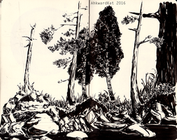 Trees Ink Sketch by Ahkward