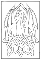 Dragon on Celtic Knots (lines) by Kaleidechse