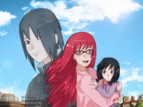 Papasuke MamaKarin with daughter mana - Uchiha fam by NarutoByAri