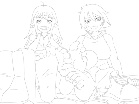 Eria and Alessandra Footsies [COMMISSION] by MeteorREB0RN