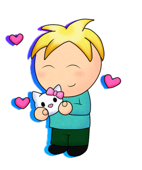 butters and hello kitty by Drawn-Mario