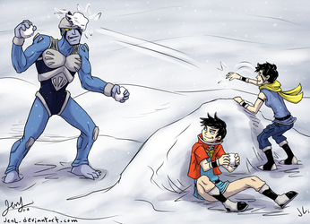 Beet and Baron - Snowball Fight by JenL