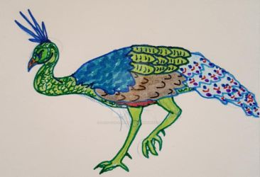 Purrty Green Peafowl by Paws-for-a-Moment