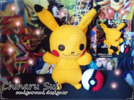 Pikachu Button Eyes by Chiharu Suh by Amigurumi-sweetheart
