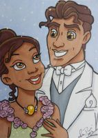Tiana and Naveen ACEO by LadyNin-Chan
