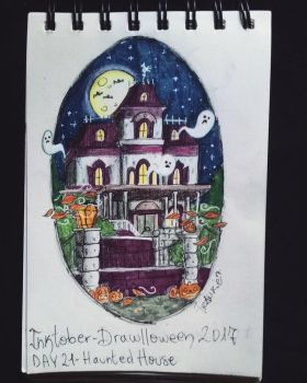 Inktober - Drawlloween / day 21: haunted house by Frankienstein