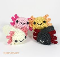 Crocheted Axolotls - Natural Colors by syppahscutecreations