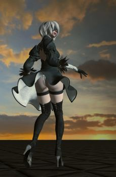 NieR: Automata-Yorha No.2 Type B_Skirt Blowing by DerangedGod