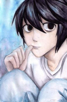 L (Death Note) by greenpigsfly