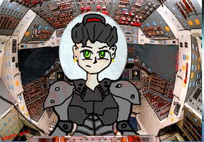 Pilot inside a ship/robot by Kyotita