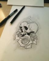 skull and roses by Anny-D