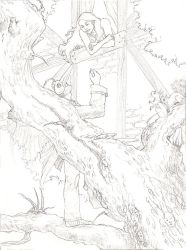 Mysterious woodsy lineart by Maitia