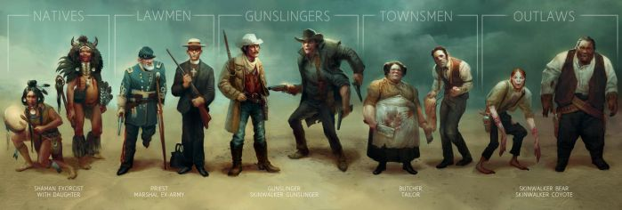 Wild west challenge character line up by MagdaPROski