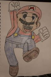 My attempt drawing mario :D by RedPandaLover