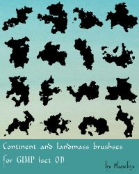 Continent and Landmass Brushes 01 by Planetrix