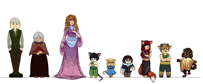 My character line up by Mama-Moose