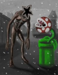 Demogorgon VS Piranha plant by Ezequielmercado