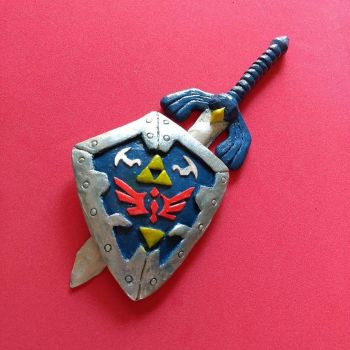 Master Sword and Hylian Shield by balonyshow