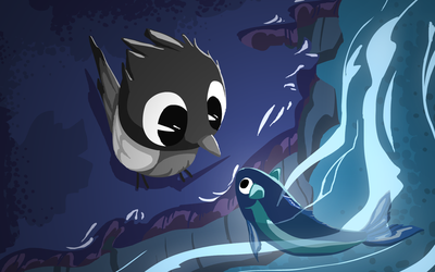 Bird and the catfish 1 [Wallpaper] by ApplexPie2