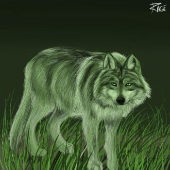 Green Wolf Doooodle. by RageInflictor