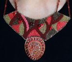 Bead Embroidered Chocolate Cherry Sunset Collar by sueswinyard