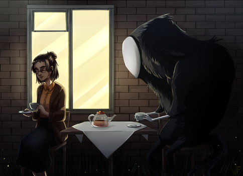 Tea party with ghost by Weird--Fish