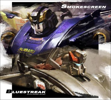 Smokescreen and Bluestreak by Xiling
