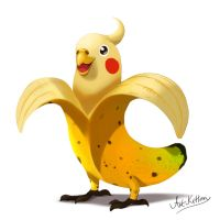 creature doodle #19 banana cockatiel by ArtKitt-Creations