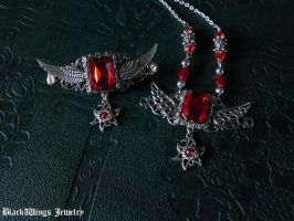 Winged set by BlackWings-jewelry