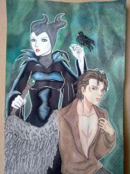Maleficent and Diaval by YorukoHimesama